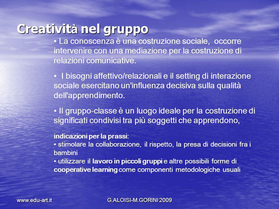 www.edu-art.itG.ALOISI-M.GORINI 2009 Creativit à nel gruppo La conoscenza è una costruzione sociale, occorre intervenire con una mediazione per la cos