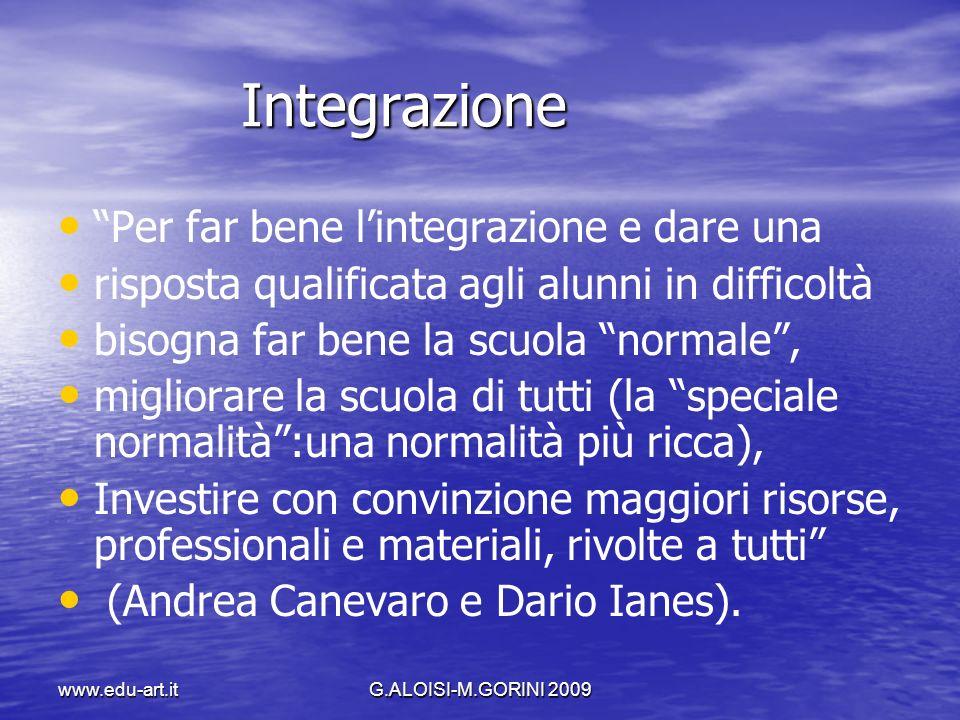www.edu-art.itG.ALOISI-M.GORINI 2009 Integrazione Integrazione Per far bene lintegrazione e dare una risposta qualificata agli alunni in difficoltà bi