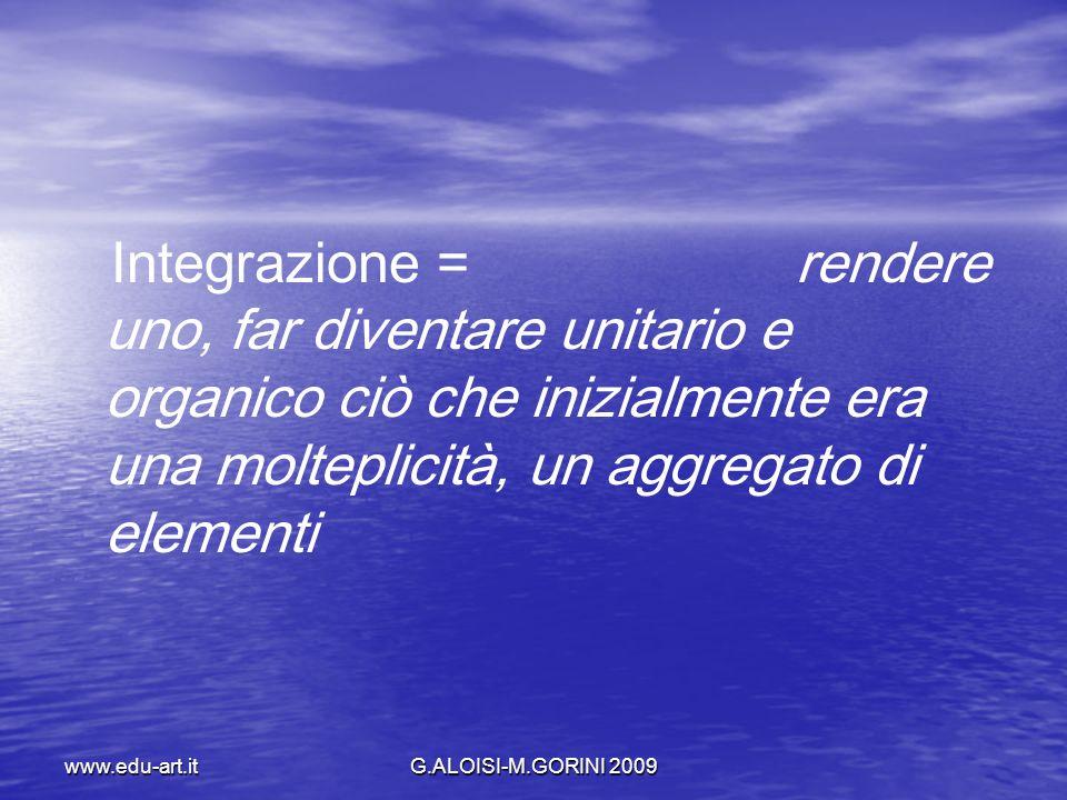 www.edu-art.itG.ALOISI-M.GORINI 2009 Integrazione = rendere uno, far diventare unitario e organico ciò che inizialmente era una molteplicità, un aggre