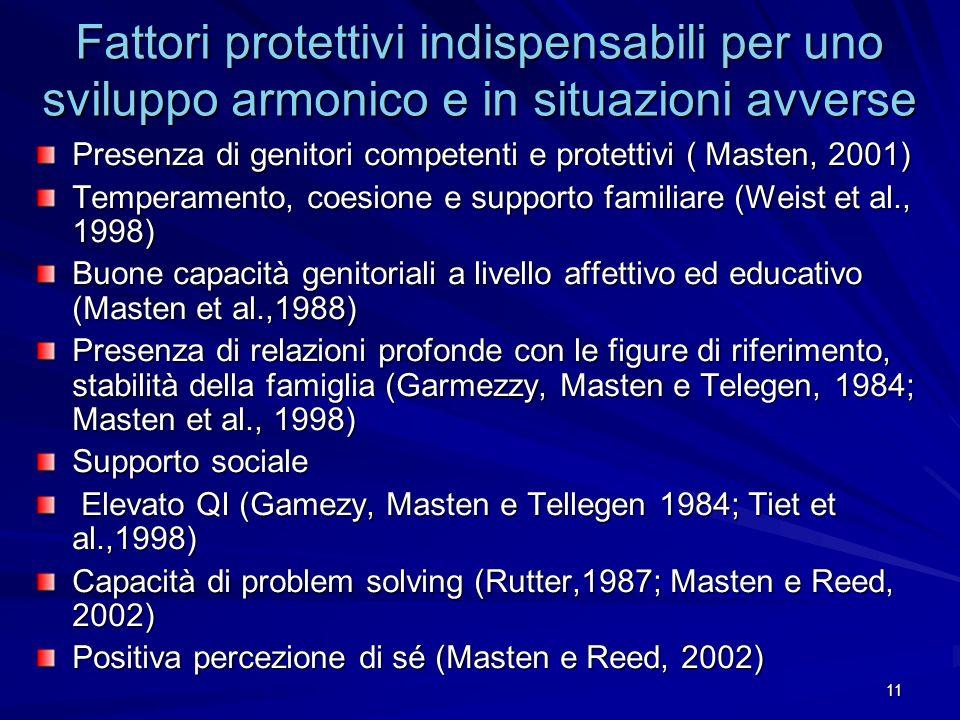 11 Fattori protettivi indispensabili per uno sviluppo armonico e in situazioni avverse Presenza di genitori competenti e protettivi ( Masten, 2001) Te