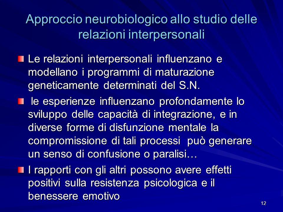 12 Approccio neurobiologico allo studio delle relazioni interpersonali Le relazioni interpersonali influenzano e modellano i programmi di maturazione