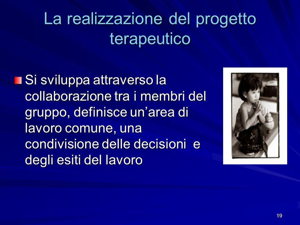 19 La realizzazione del progetto terapeutico Si sviluppa attraverso la collaborazione tra i membri del gruppo, definisce unarea di lavoro comune, una