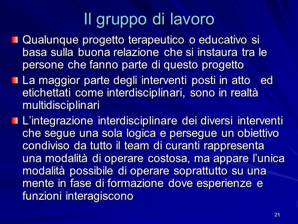 21 Il gruppo di lavoro Qualunque progetto terapeutico o educativo si basa sulla buona relazione che si instaura tra le persone che fanno parte di ques