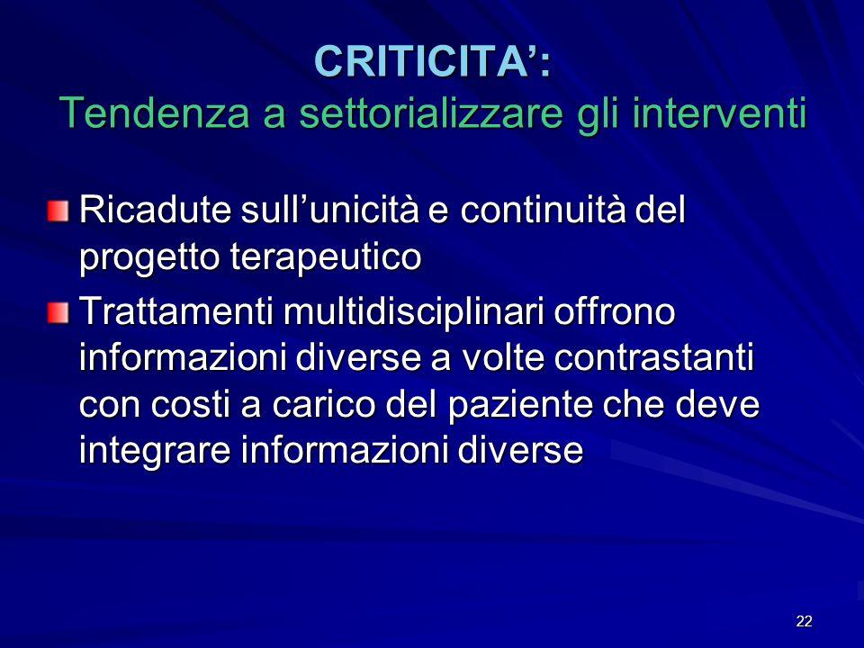 22 CRITICITA: Tendenza a settorializzare gli interventi Ricadute sullunicità e continuità del progetto terapeutico Trattamenti multidisciplinari offro