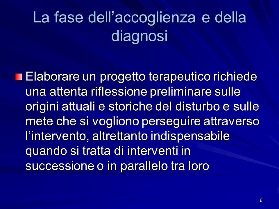6 La fase dellaccoglienza e della diagnosi Elaborare un progetto terapeutico richiede una attenta riflessione preliminare sulle origini attuali e stor