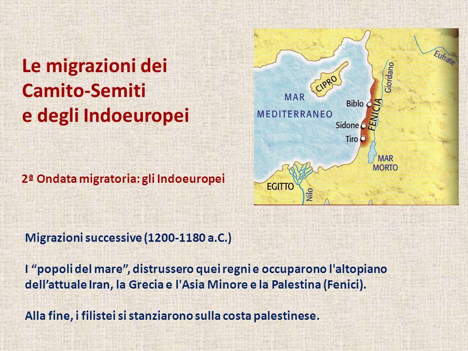 Le migrazioni dei Camito-Semiti e degli Indoeuropei Migrazioni successive (1200-1180 a.C.) I popoli del mare, distrussero quei regni e occuparono l altopiano dellattuale Iran, la Grecia e l Asia Minore e la Palestina (Fenici).