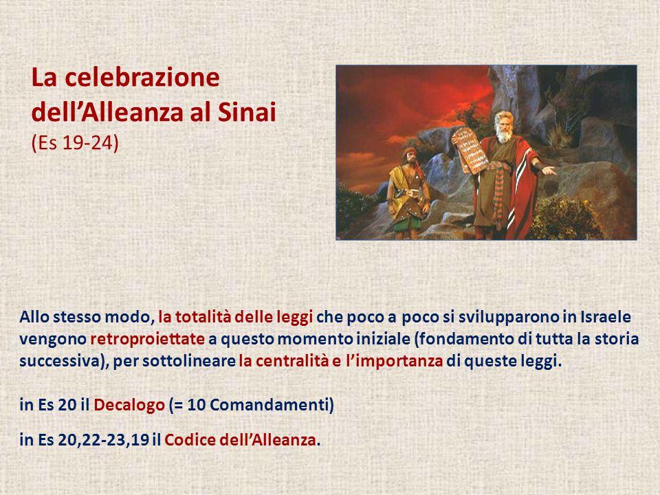 La celebrazione dellAlleanza al Sinai (Es 19-24) Allo stesso modo, la totalità delle leggi che poco a poco si svilupparono in Israele vengono retropro