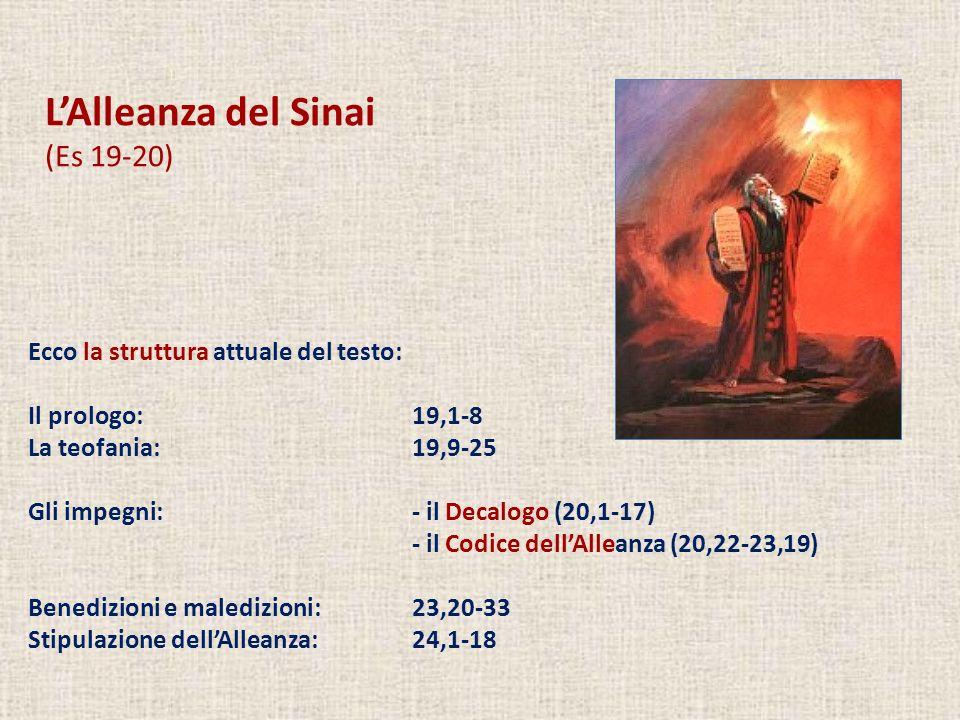 LAlleanza del Sinai (Es 19-20) Ecco la struttura attuale del testo: Il prologo: 19,1-8 La teofania: 19,9-25 Gli impegni:- il Decalogo (20,1-17) - il C