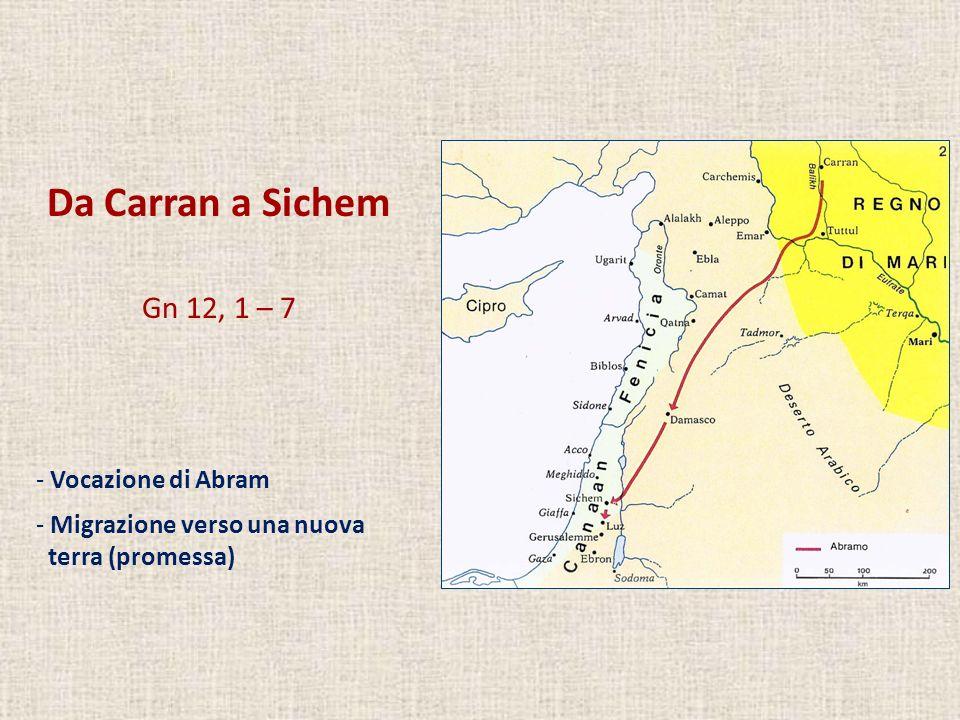 Da Carran a Sichem Gn 12, 1 – 7 - Vocazione di Abram - Migrazione verso una nuova terra (promessa)