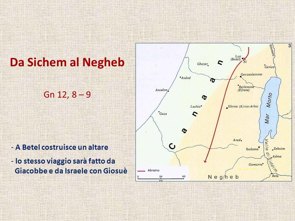 Da Sichem al Negheb Gn 12, 8 – 9 - A Betel costruisce un altare - lo stesso viaggio sarà fatto da Giacobbe e da Israele con Giosuè