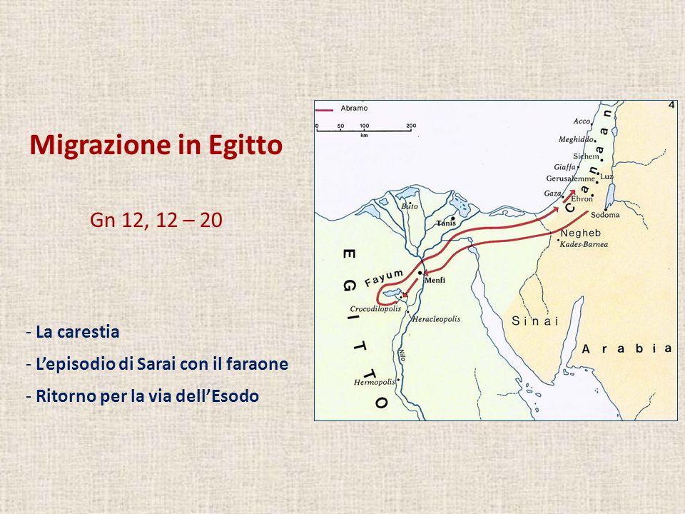 Migrazione in Egitto Gn 12, 12 – 20 - La carestia - Lepisodio di Sarai con il faraone - Ritorno per la via dellEsodo