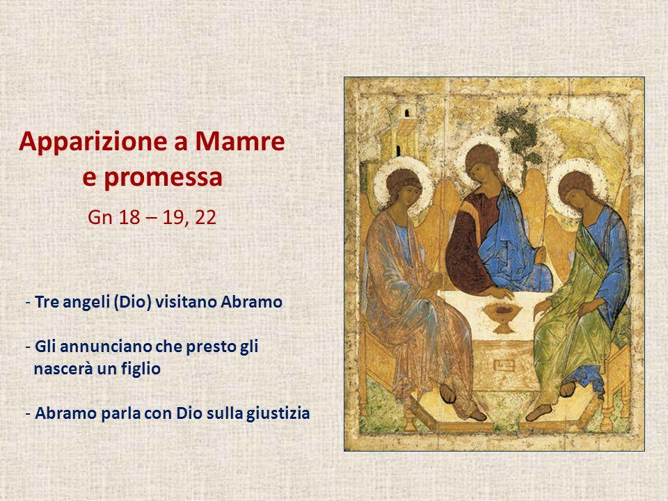 Apparizione a Mamre e promessa Gn 18 – 19, 22 - Tre angeli (Dio) visitano Abramo - Gli annunciano che presto gli nascerà un figlio - Abramo parla con