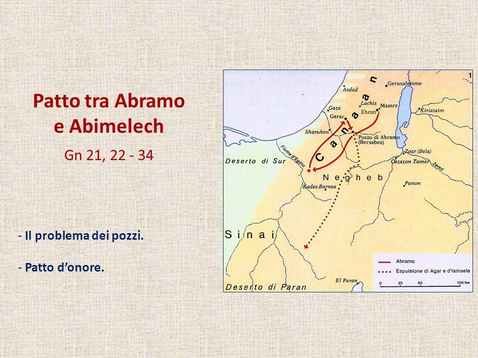Patto tra Abramo e Abimelech Gn 21, 22 - 34 - Il problema dei pozzi. - Patto donore.