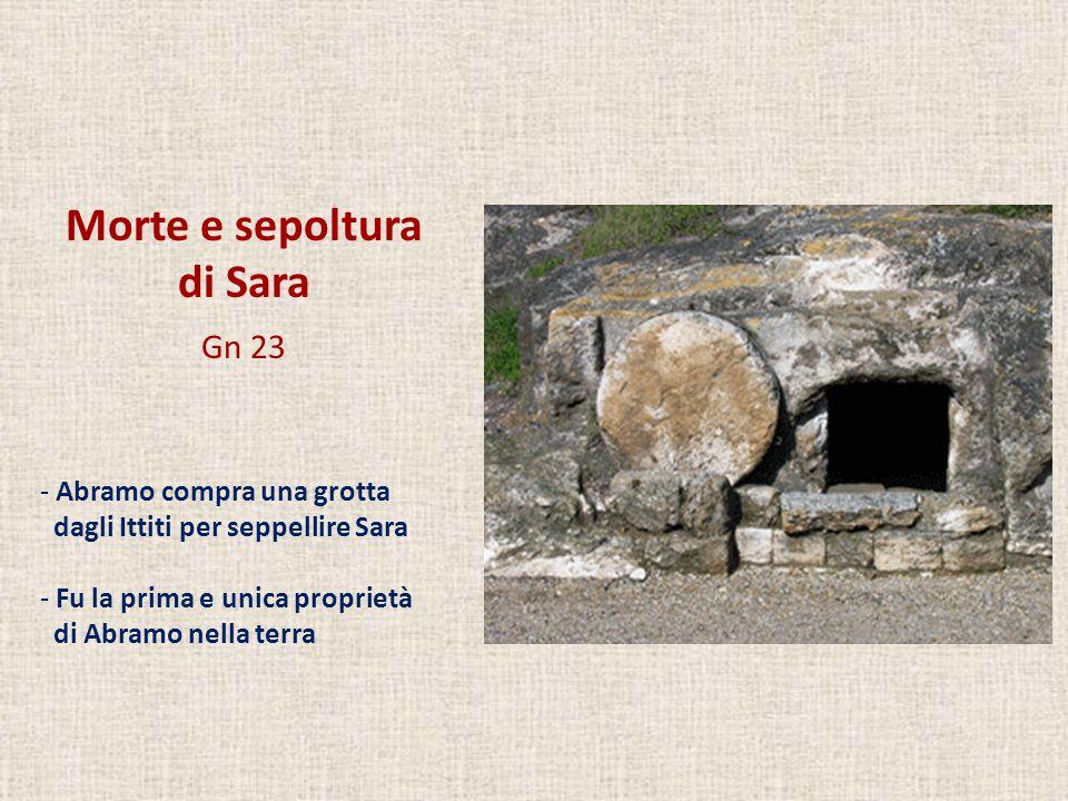 Morte e sepoltura di Sara Gn 23 - Abramo compra una grotta dagli Ittiti per seppellire Sara - Fu la prima e unica proprietà di Abramo nella terra