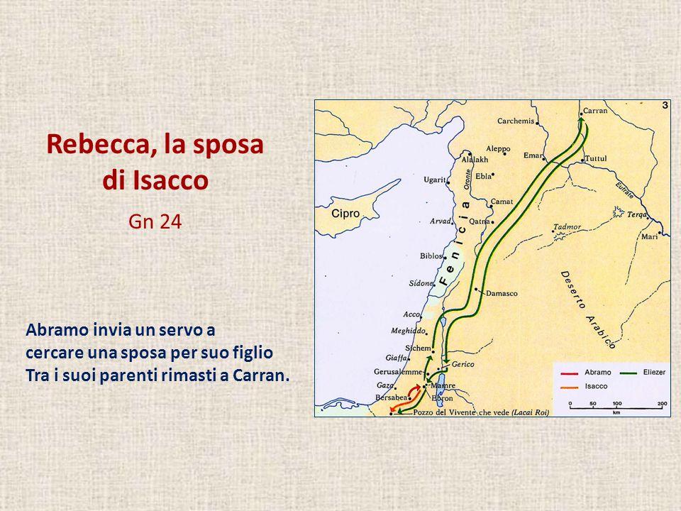 Rebecca, la sposa di Isacco Gn 24 Abramo invia un servo a cercare una sposa per suo figlio Tra i suoi parenti rimasti a Carran.