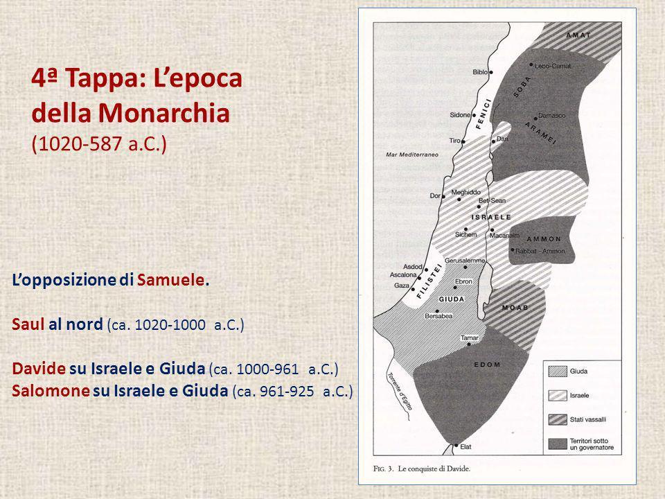 4ª Tappa: Lepoca della Monarchia (1020-587 a.C.) Lopposizione di Samuele. Saul al nord (ca. 1020-1000 a.C.) Davide su Israele e Giuda (ca. 1000-961 a.