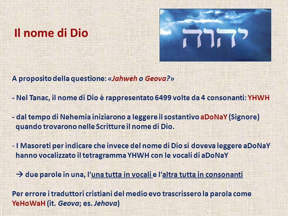 A proposito della questione: «Jahweh o Geova?» - Nel Tanac, il nome di Dio è rappresentato 6499 volte da 4 consonanti: YHWH - dal tempo di Nehemia ini
