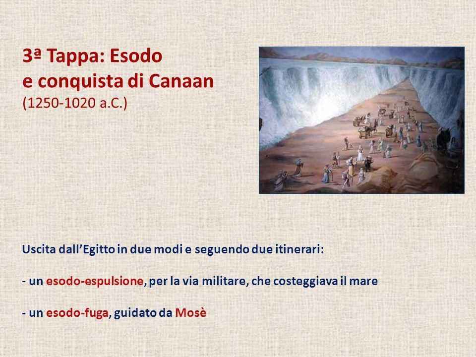 3ª Tappa: Esodo e conquista di Canaan (1250-1020 a.C.) Uscita dallEgitto in due modi e seguendo due itinerari: - un esodo-espulsione, per la via milit