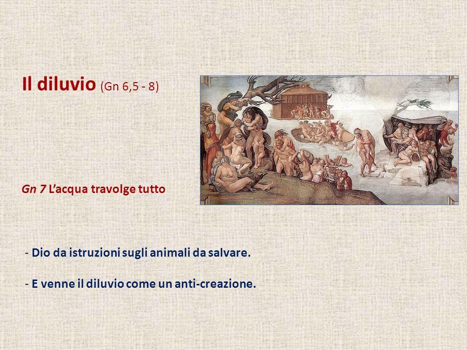 Il diluvio (Gn 6,5 - 8) Gn 7 Lacqua travolge tutto - Dio da istruzioni sugli animali da salvare. - E venne il diluvio come un anti-creazione.