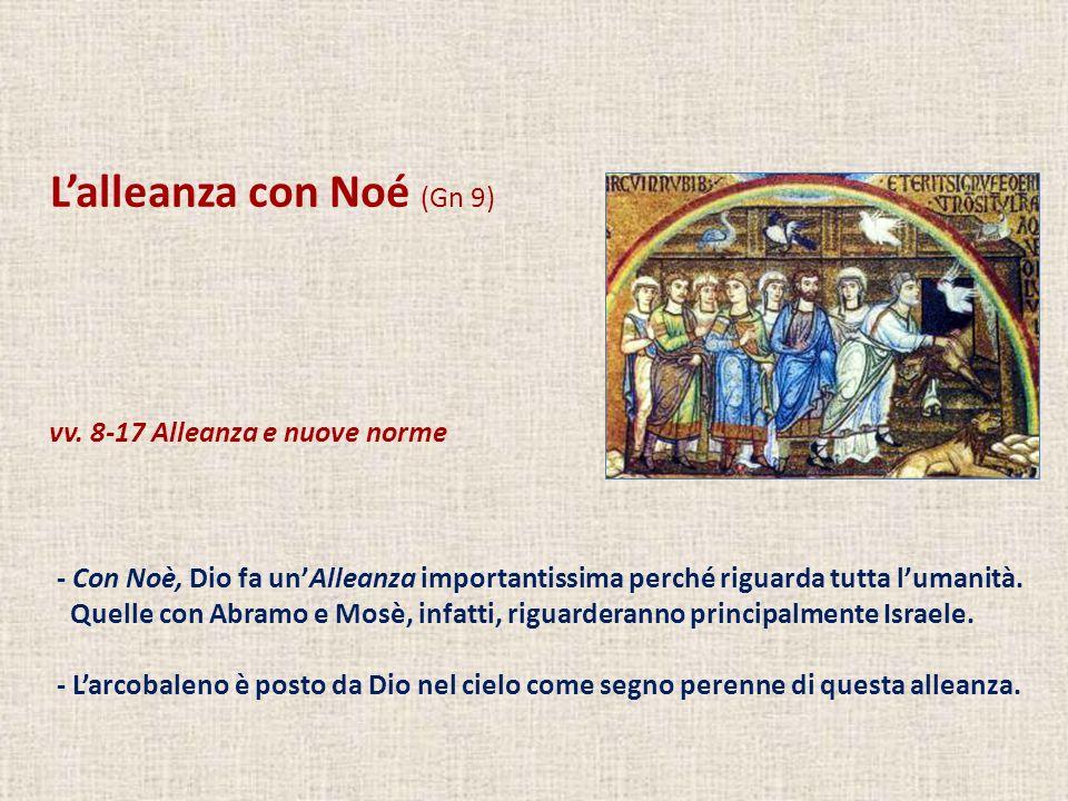 Lalleanza con Noé (Gn 9) vv. 8-17 Alleanza e nuove norme - Con Noè, Dio fa unAlleanza importantissima perché riguarda tutta lumanità. Quelle con Abram