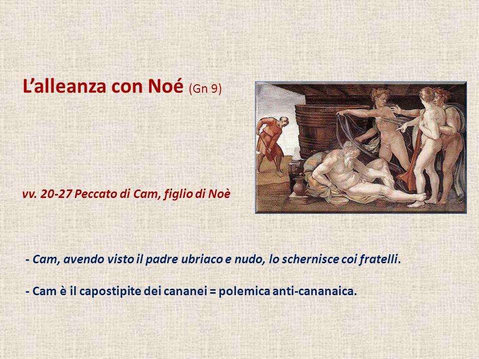 Lalleanza con Noé (Gn 9) vv. 20-27 Peccato di Cam, figlio di Noè - Cam, avendo visto il padre ubriaco e nudo, lo schernisce coi fratelli. - Cam è il c