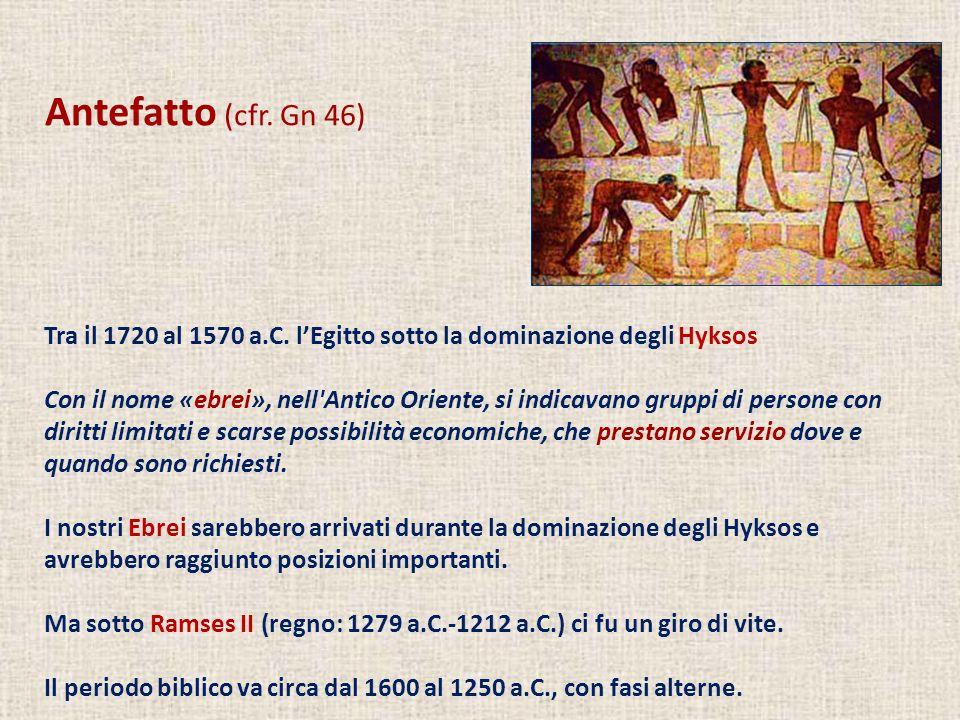 Antefatto (cfr. Gn 46) Tra il 1720 al 1570 a.C. lEgitto sotto la dominazione degli Hyksos Con il nome «ebrei», nell'Antico Oriente, si indicavano grup