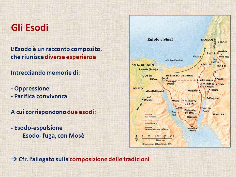 Gli Esodi LEsodo è un racconto composito, che riunisce diverse esperienze Intrecciando memorie di: - Oppressione - Pacifica convivenza A cui corrispon
