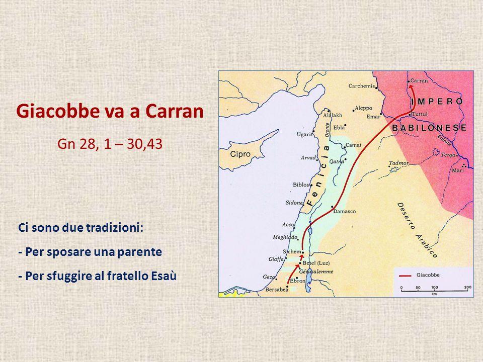 Giacobbe va a Carran Gn 28, 1 – 30,43 Ci sono due tradizioni: - Per sposare una parente - Per sfuggire al fratello Esaù