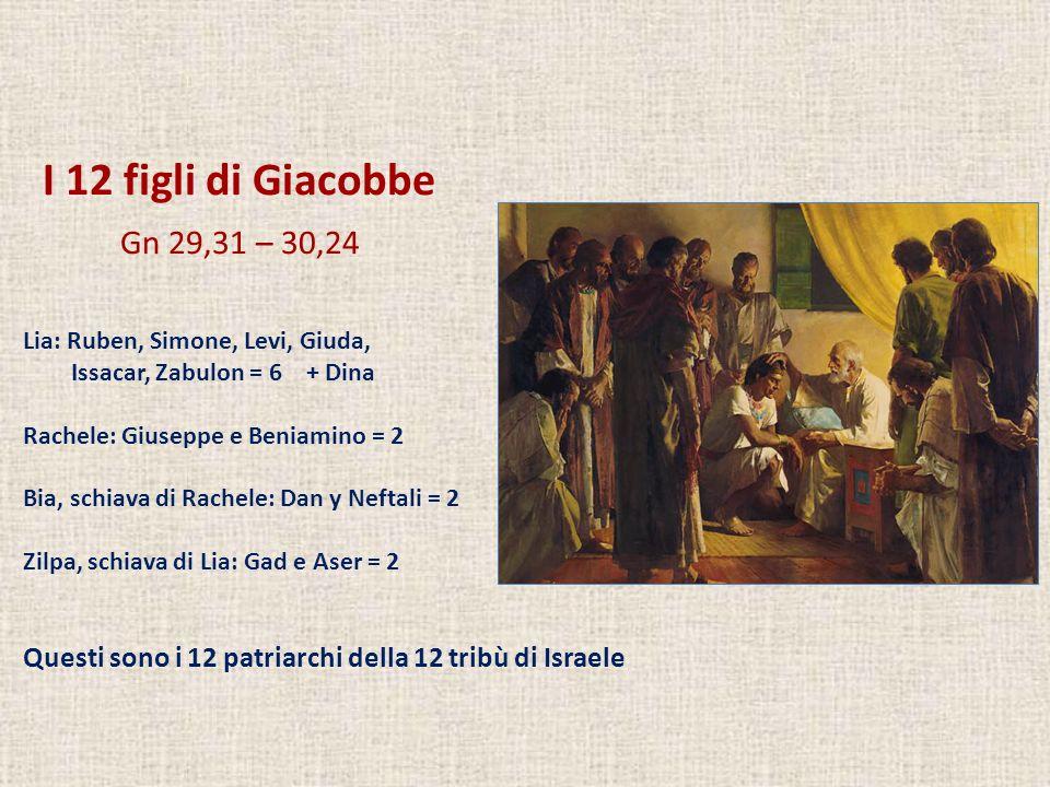 I 12 figli di Giacobbe Gn 29,31 – 30,24 Lia: Ruben, Simone, Levi, Giuda, Issacar, Zabulon = 6 + Dina Rachele: Giuseppe e Beniamino = 2 Bia, schiava di