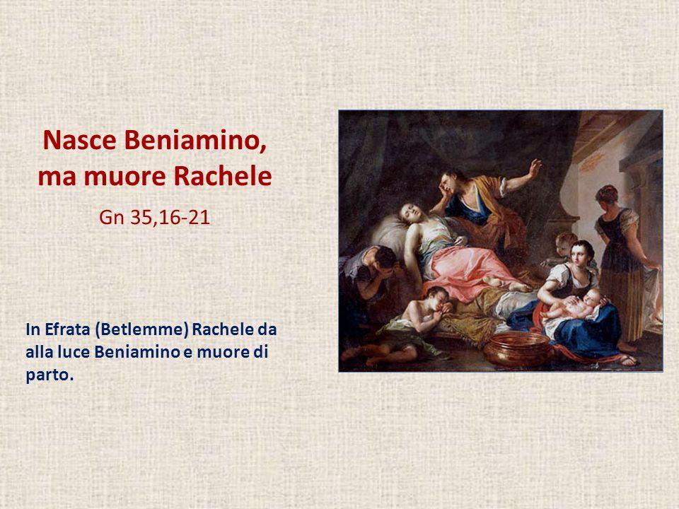 Nasce Beniamino, ma muore Rachele Gn 35,16-21 In Efrata (Betlemme) Rachele da alla luce Beniamino e muore di parto.