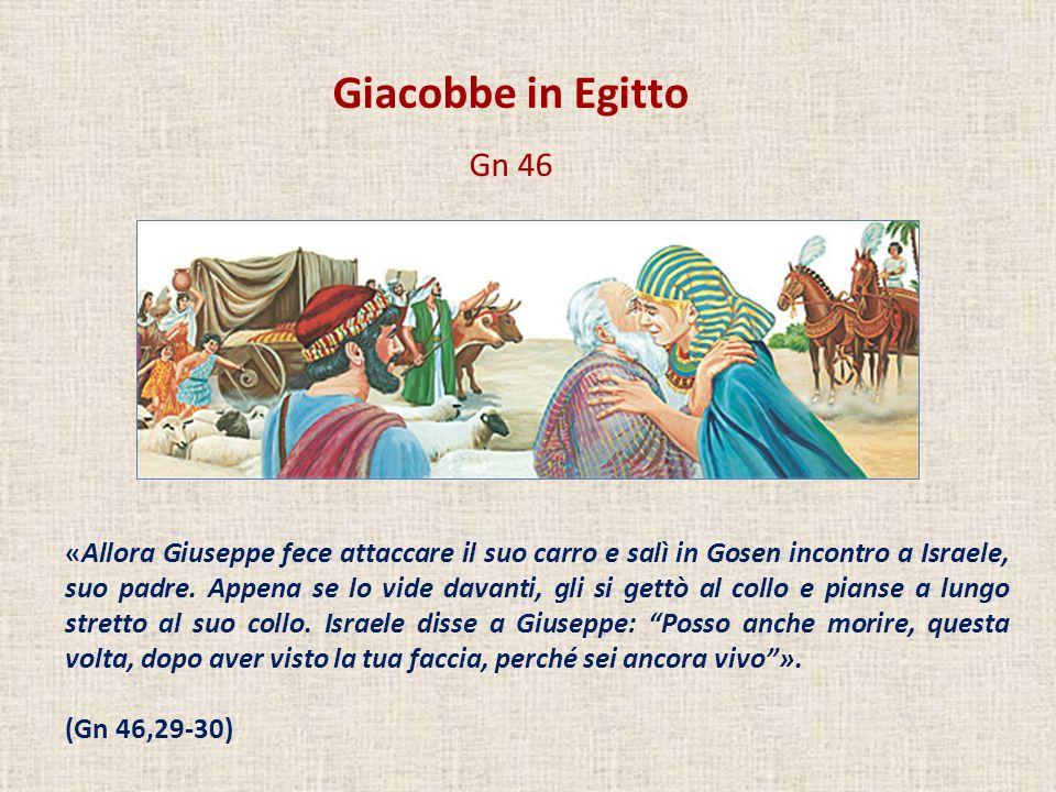 Giacobbe in Egitto Gn 46 «Allora Giuseppe fece attaccare il suo carro e salì in Gosen incontro a Israele, suo padre. Appena se lo vide davanti, gli si