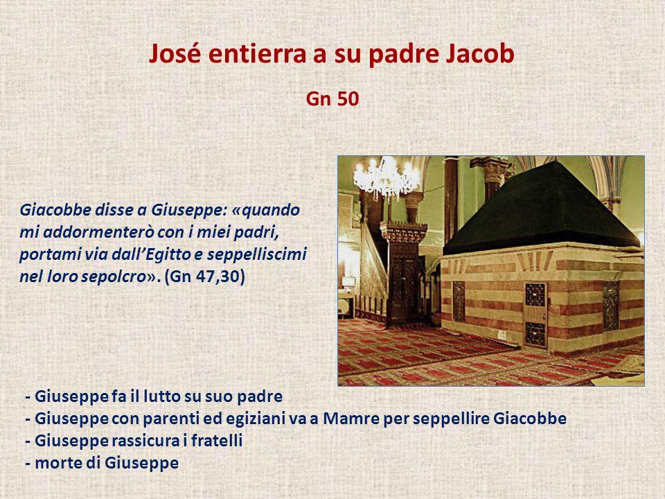 José entierra a su padre Jacob Gn 50 Giacobbe disse a Giuseppe: «quando mi addormenterò con i miei padri, portami via dallEgitto e seppelliscimi nel l