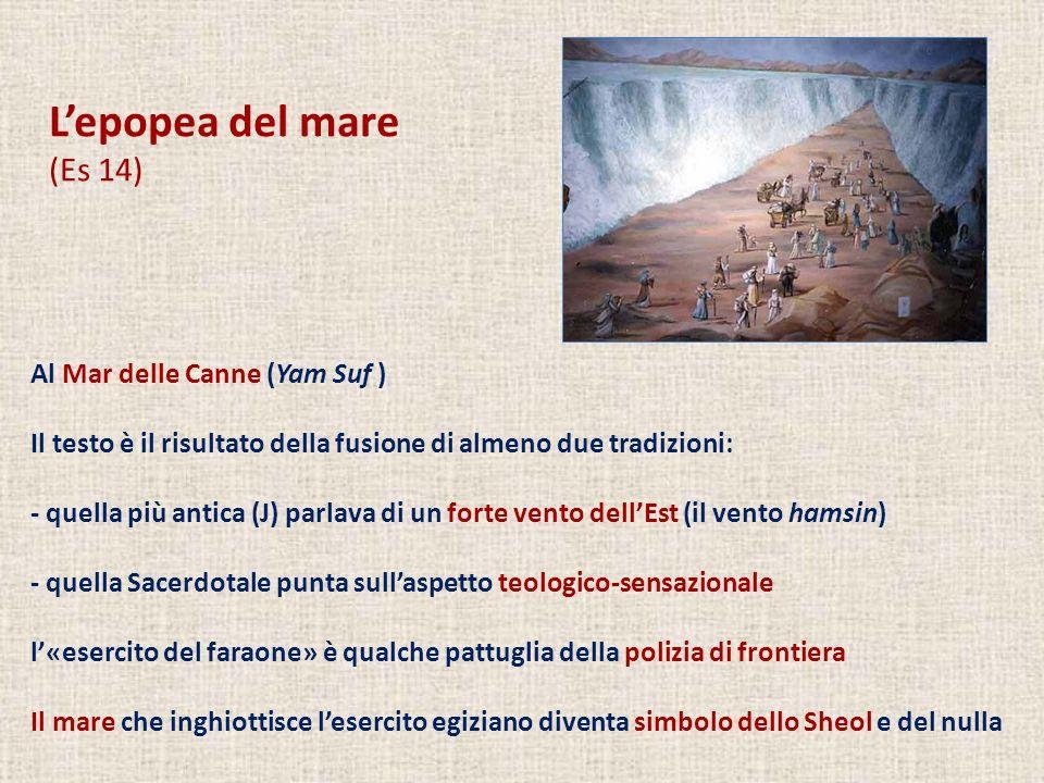 Lepopea del mare (Es 14) Al Mar delle Canne (Yam Suf ) Il testo è il risultato della fusione di almeno due tradizioni: - quella più antica (J) parlava