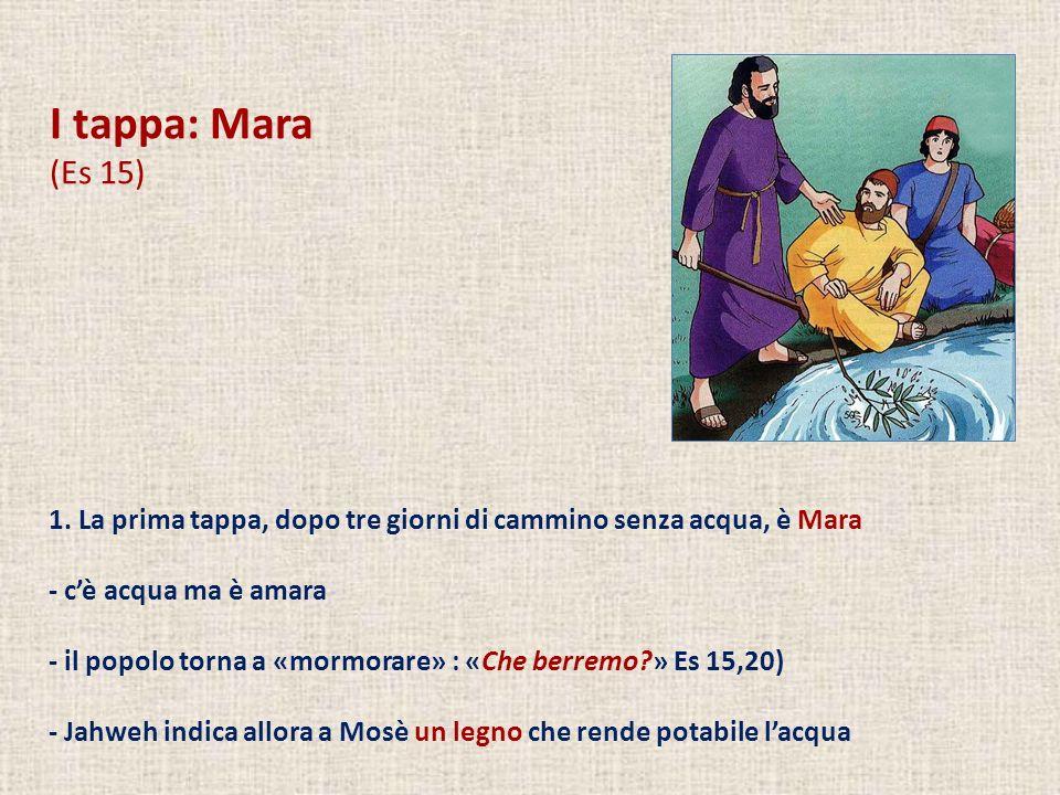 I tappa: Mara (Es 15) 1. La prima tappa, dopo tre giorni di cammino senza acqua, è Mara - cè acqua ma è amara - il popolo torna a «mormorare» : «Che b