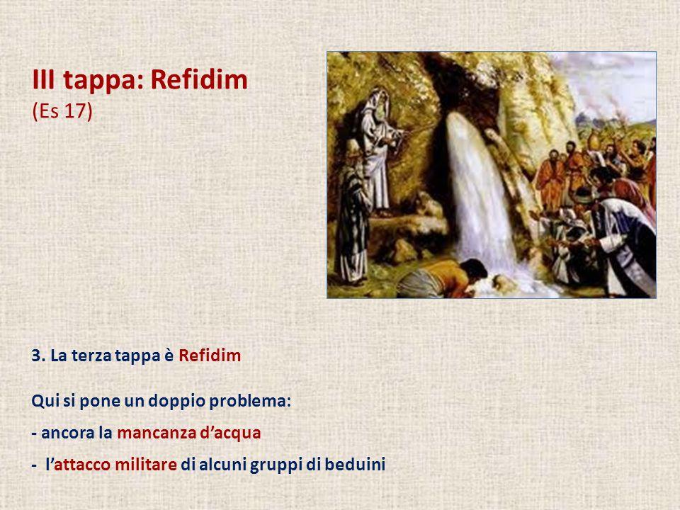 III tappa: Refidim (Es 17) Per quanto riguarda la mancanza di acqua si ripete lo schema: - problema - protesta del popolo (verbi tipici dellincredulità, riassunti nel nome Massa (= tentazione) e Meriba (= protesta).