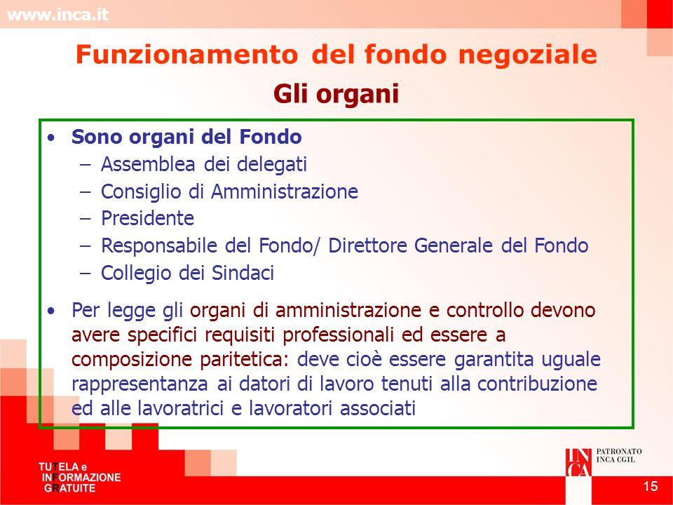 www.inca.it 15 Gli organi Sono organi del Fondo –Assemblea dei delegati –Consiglio di Amministrazione –Presidente –Responsabile del Fondo/ Direttore G