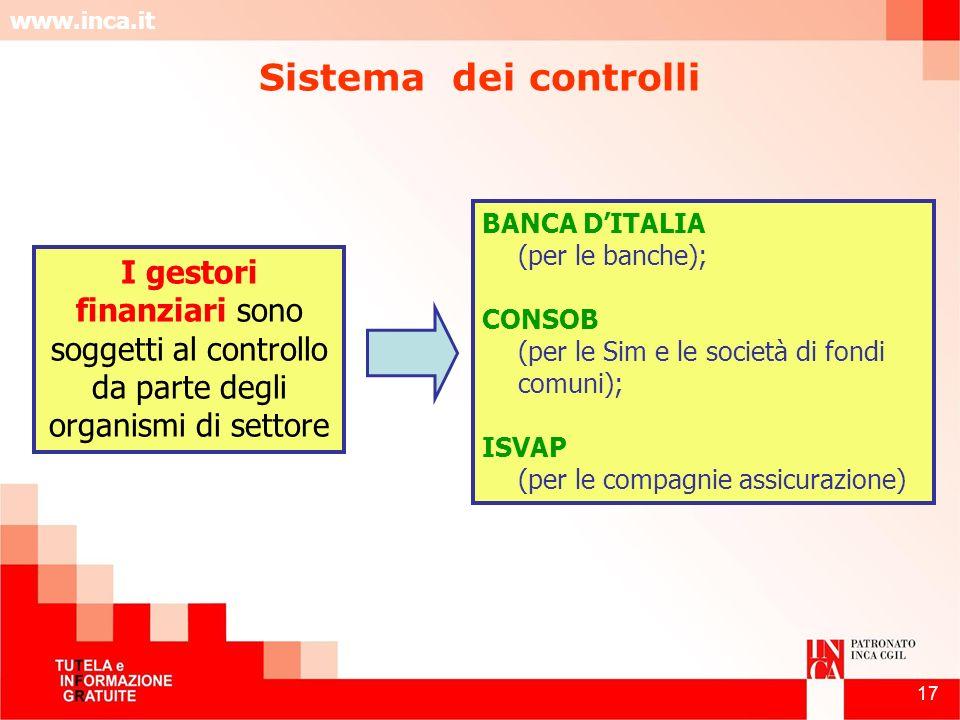 www.inca.it 17 I gestori finanziari sono soggetti al controllo da parte degli organismi di settore BANCA DITALIA (per le banche); CONSOB (per le Sim e
