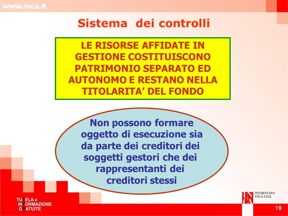 www.inca.it 19 LE RISORSE AFFIDATE IN GESTIONE COSTITUISCONO PATRIMONIO SEPARATO ED AUTONOMO E RESTANO NELLA TITOLARITA DEL FONDO Non possono formare