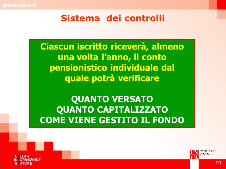 www.inca.it 20 Ciascun iscritto riceverà, almeno una volta lanno, il conto pensionistico individuale dal quale potrà verificare QUANTO VERSATO QUANTO