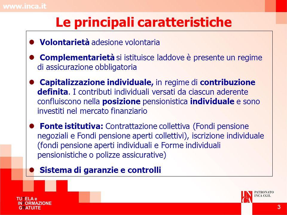 www.inca.it 3 Volontarietà adesione volontaria Complementarietà si istituisce laddove è presente un regime di assicurazione obbligatoria Capitalizzazi