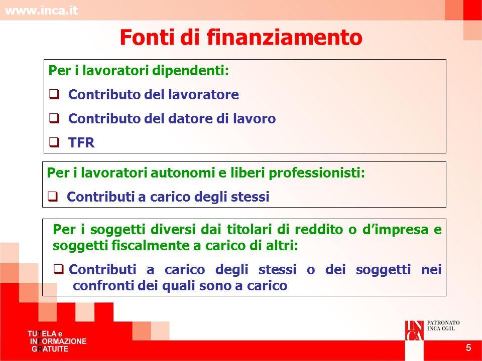 www.inca.it 5 Fonti di finanziamento Per i lavoratori dipendenti: Contributo del lavoratore Contributo del datore di lavoro TFR Per i lavoratori auton