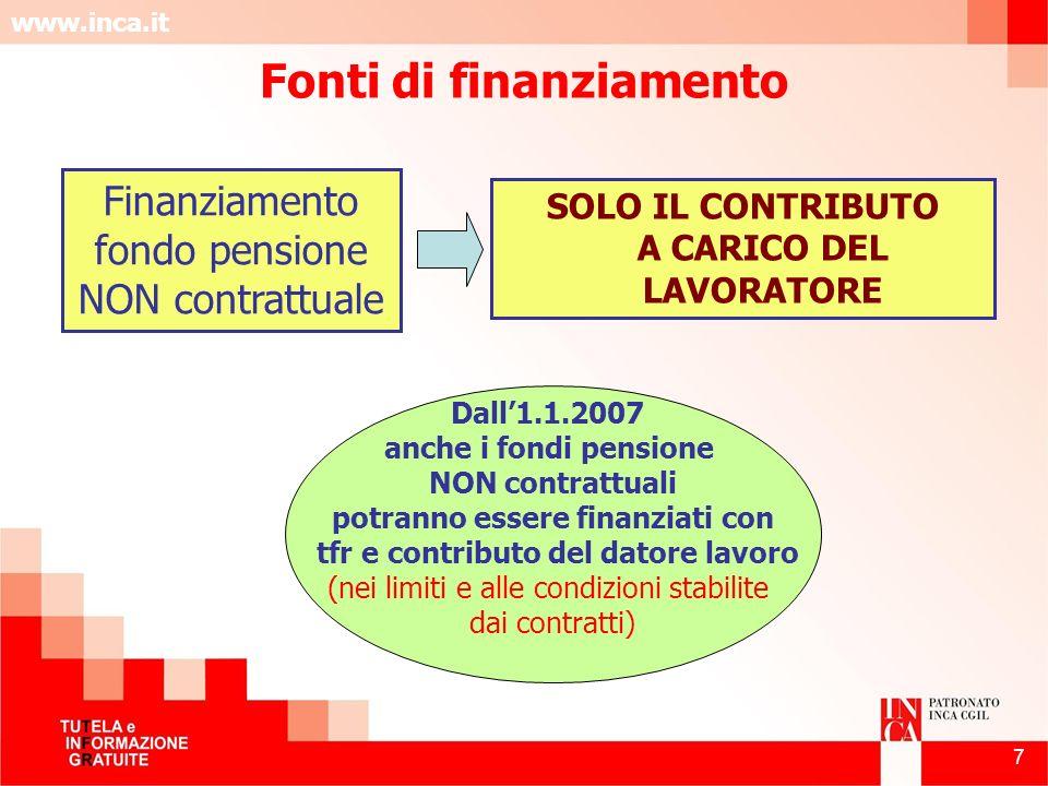 www.inca.it 7 Finanziamento fondo pensione NON contrattuale SOLO IL CONTRIBUTO A CARICO DEL LAVORATORE Dall1.1.2007 anche i fondi pensione NON contrat