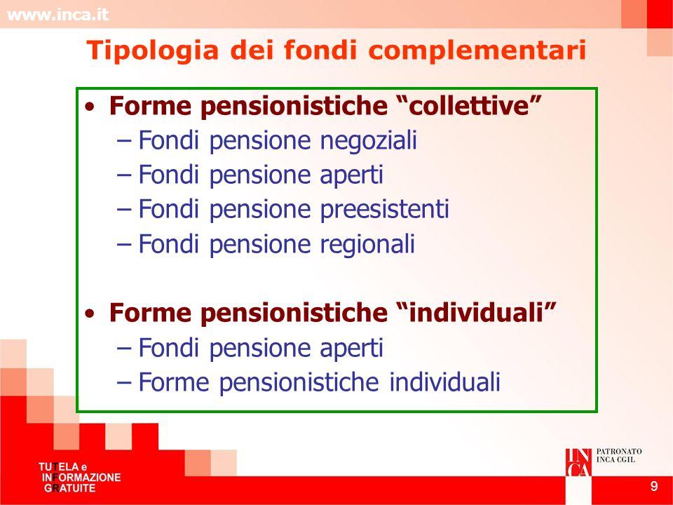 www.inca.it 9 Tipologia dei fondi complementari Forme pensionistiche collettive –Fondi pensione negoziali –Fondi pensione aperti –Fondi pensione prees