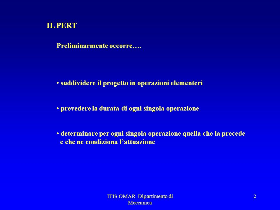 ITIS OMAR Dipartimento di Meccanica 1 IL PERT PERT (Program Evaluation and Review Technique) tecnica reticolare grafica adatta a risolvere problemi di
