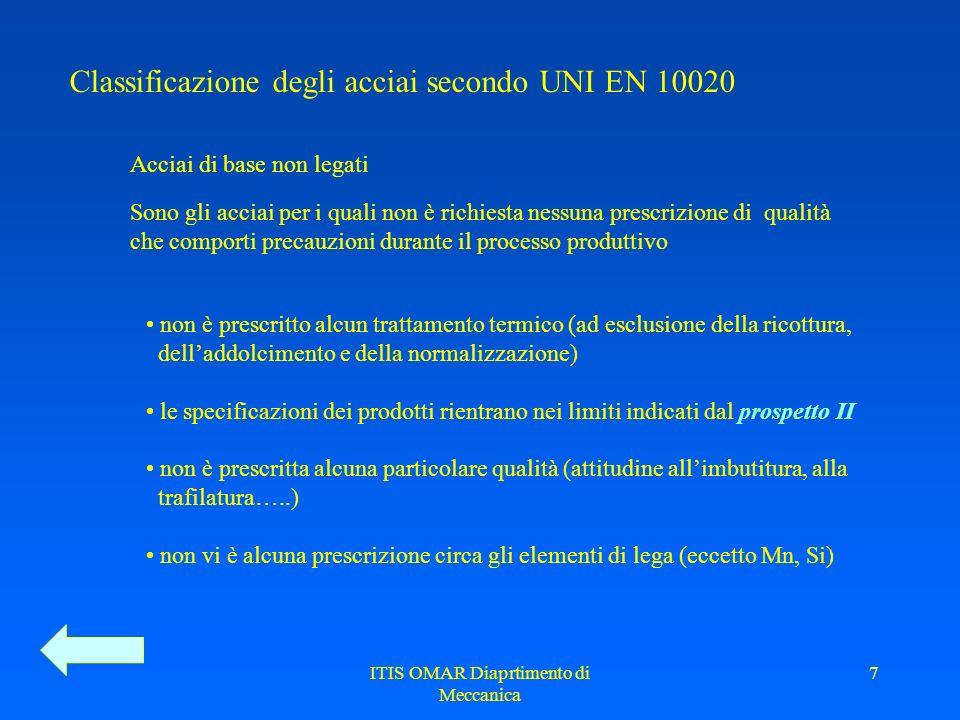 ITIS OMAR Diaprtimento di Meccanica 6 Classificazione degli acciai secondo UNI EN 10020 Prospetto I