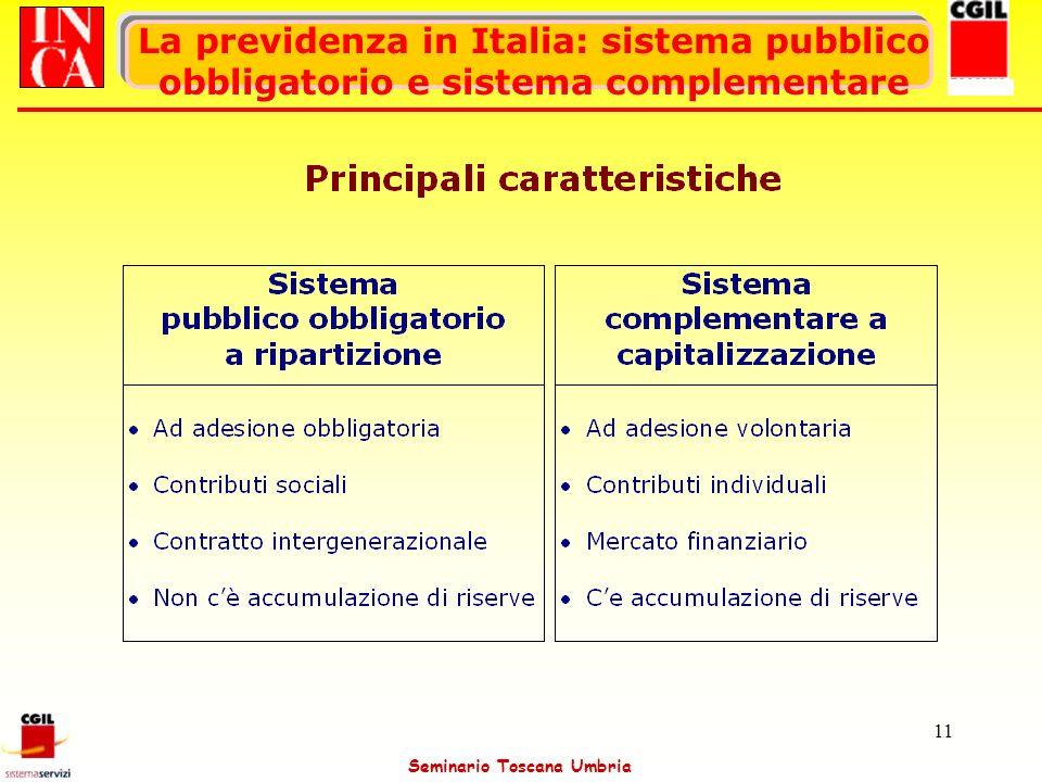 Seminario Toscana Umbria 11 La previdenza in Italia: sistema pubblico obbligatorio e sistema complementare