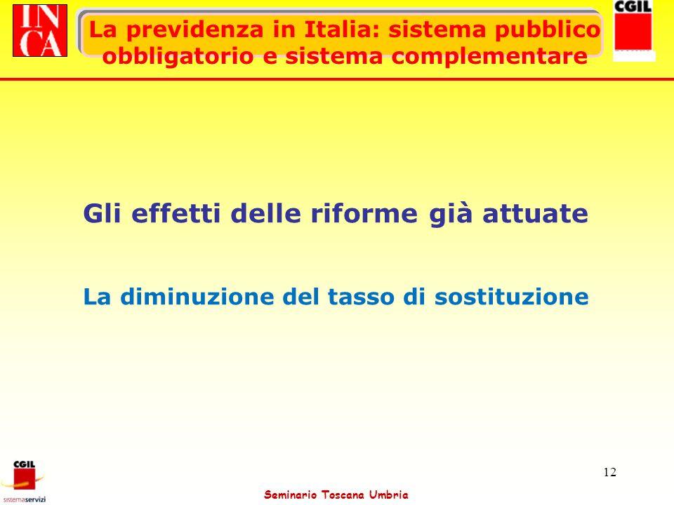 Seminario Toscana Umbria 12 La previdenza in Italia: sistema pubblico obbligatorio e sistema complementare Gli effetti delle riforme già attuate La di