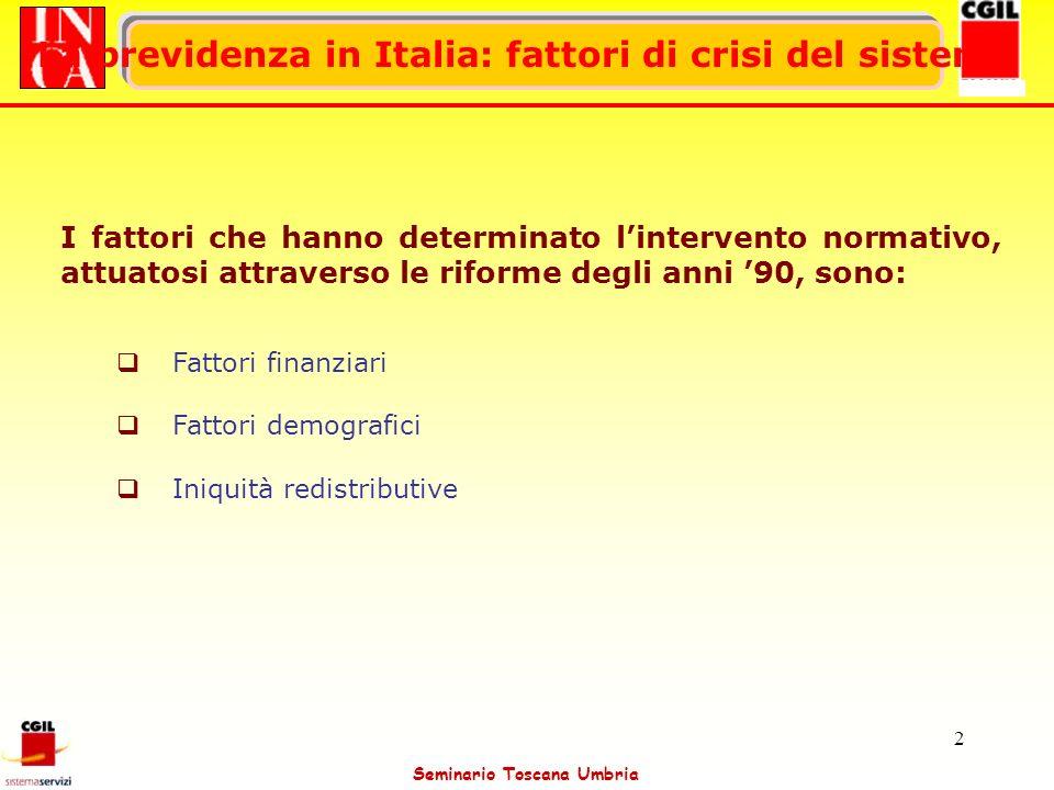 Seminario Toscana Umbria 2 La previdenza in Italia: fattori di crisi del sistema I fattori che hanno determinato lintervento normativo, attuatosi attr