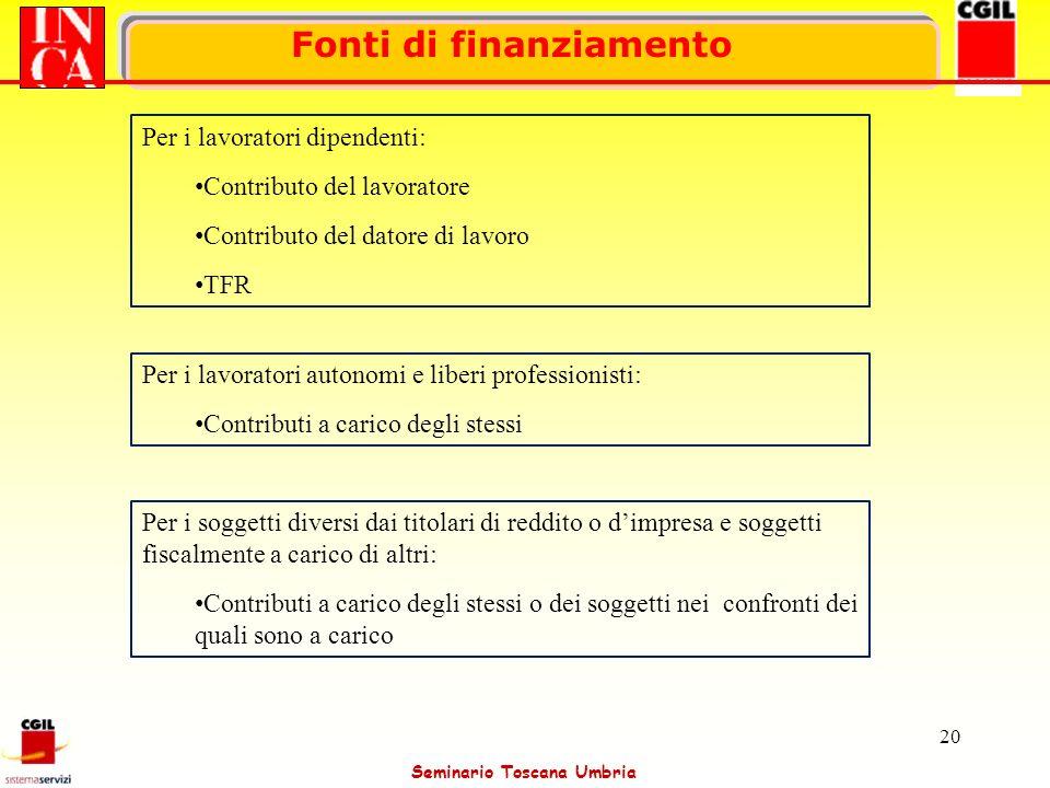 Seminario Toscana Umbria 20 Fonti di finanziamento Per i lavoratori dipendenti: Contributo del lavoratore Contributo del datore di lavoro TFR Per i la
