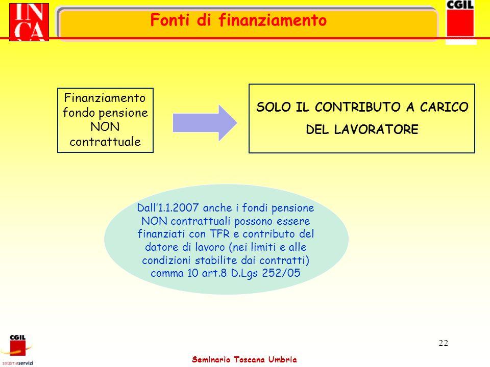 Seminario Toscana Umbria 22 Dall1.1.2007 anche i fondi pensione NON contrattuali possono essere finanziati con TFR e contributo del datore di lavoro (